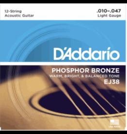 DAddario Fretted D'addario Phosphor Bronze Lite Acoustic 12 String Set .010