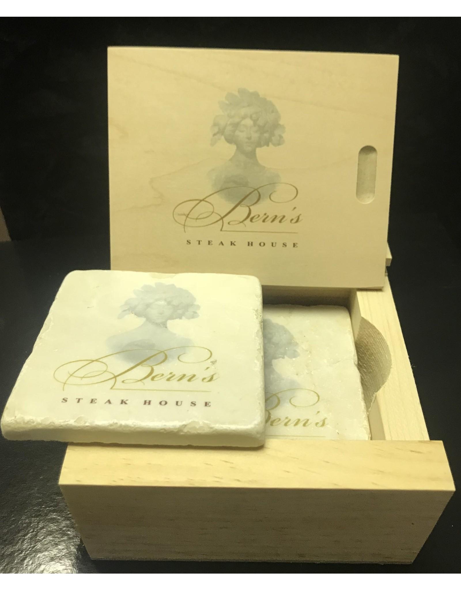 Bern's Evangeline Stone Coasters 4 pack in Wood Box