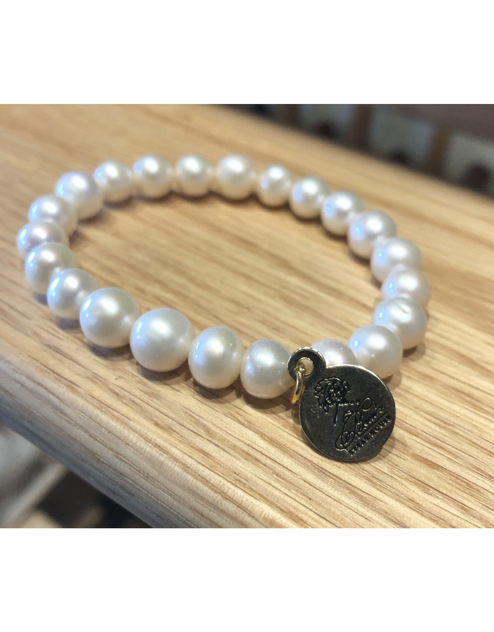 Bourbon and Bowties White Pearl Bracelet