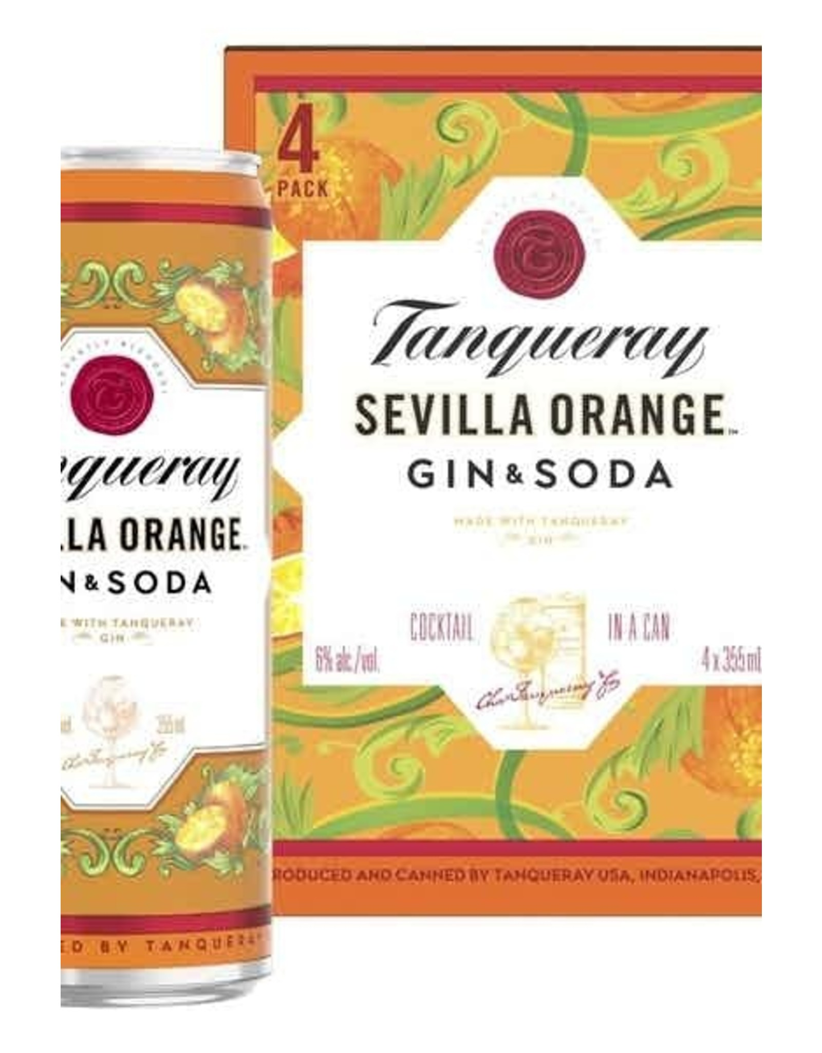 Tanqueray Gin & Soda Sevilla Orange 4 pack