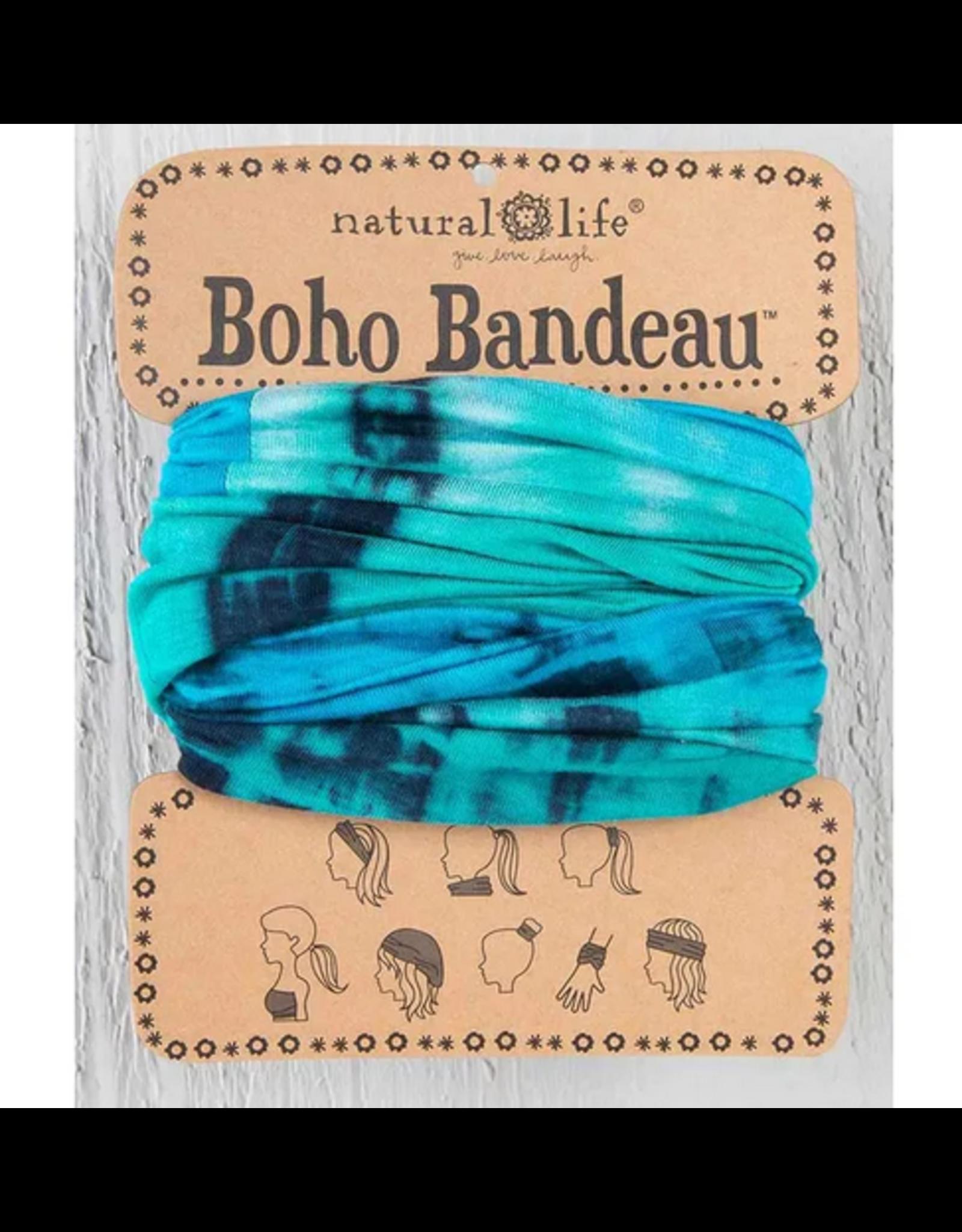 Natural LIfe Boho Bandeau, Tie Dye Turquoise/Blue/White