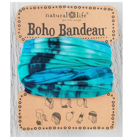 Natural LIfe Boho Bandeau, Tie Dye Turquoise/Blue/White