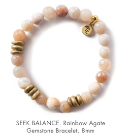 L&E Gemstone Bracelet, rainbow agate, 8 mm