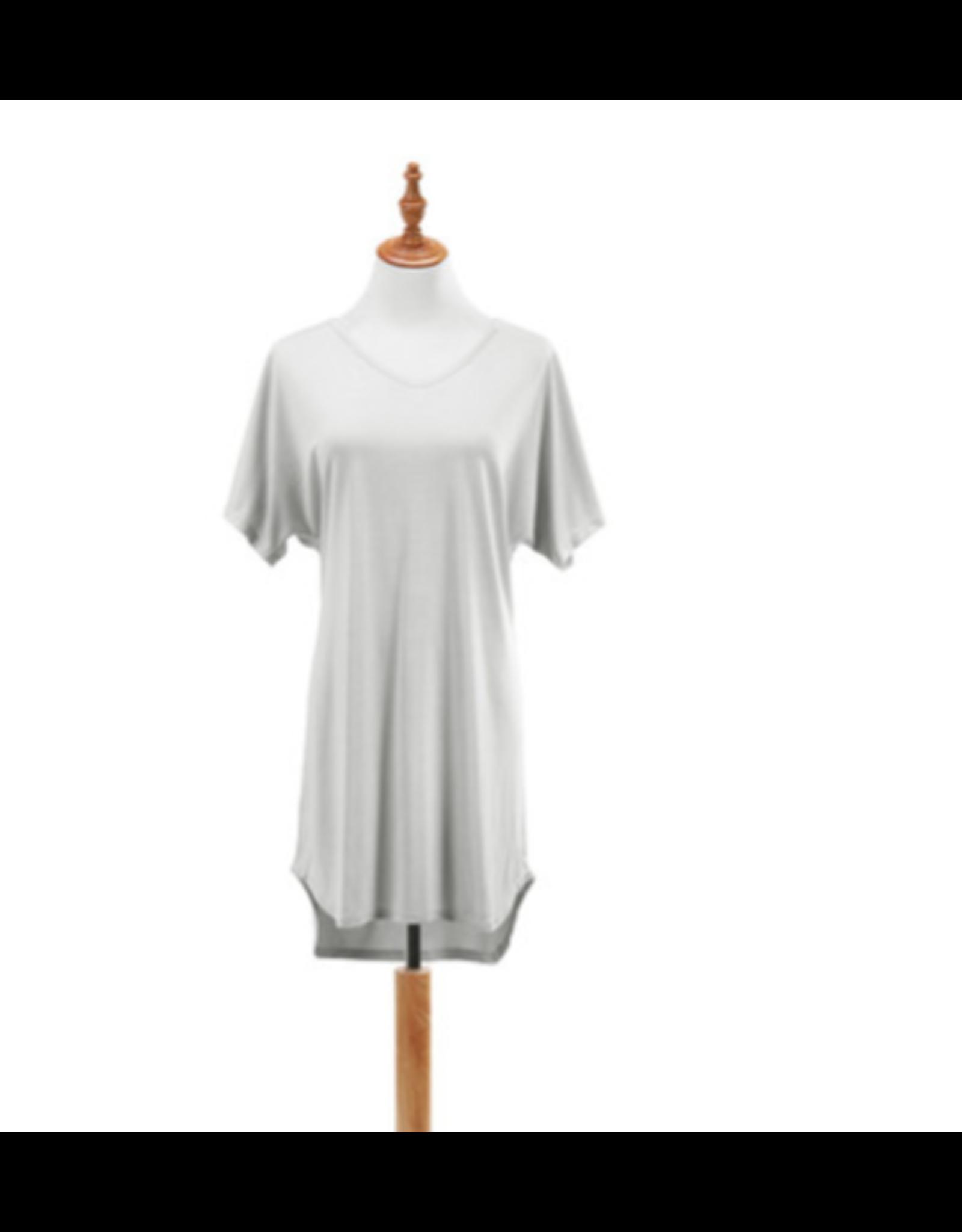 Bamboo Long Lounge Shirt, pebble S/M