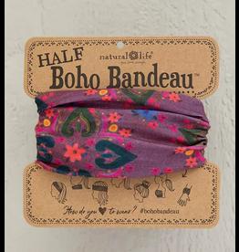 Natural LIfe Half Boho Bandeau, Plum Floral Mandala
