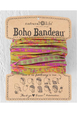 Natural LIfe Boho Bandeau, Red & Pink Flower Medallion