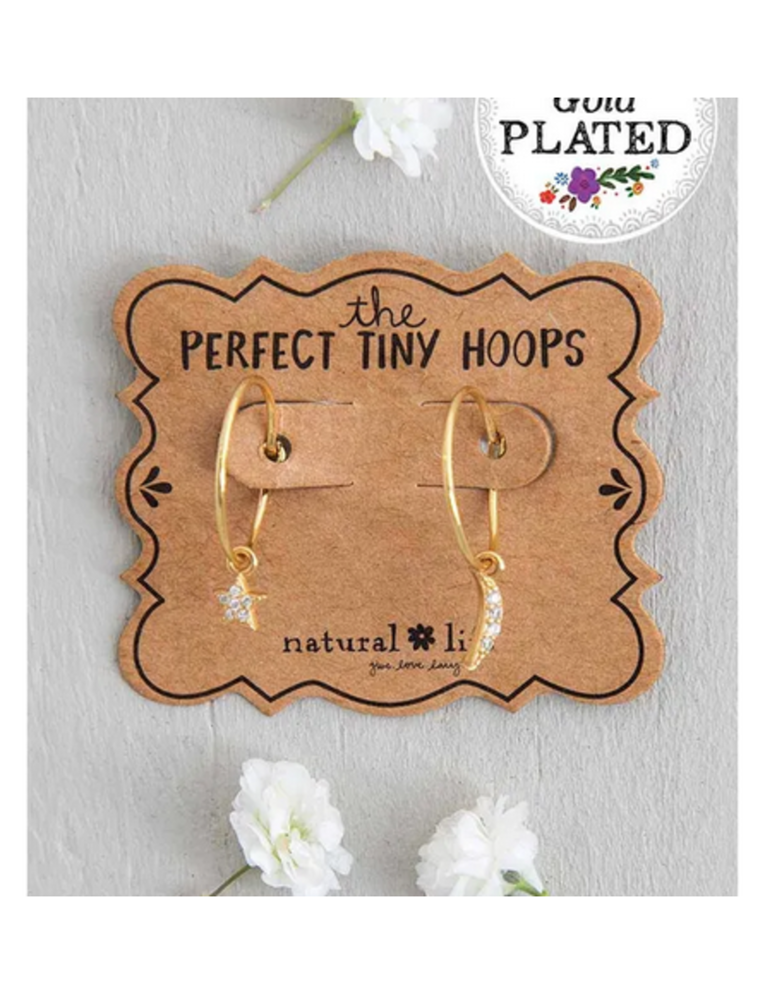 Natural LIfe Tiny Hoop Earrings, Moon & Star