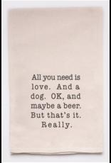 Flour Sack Towel, Love and a Dog
