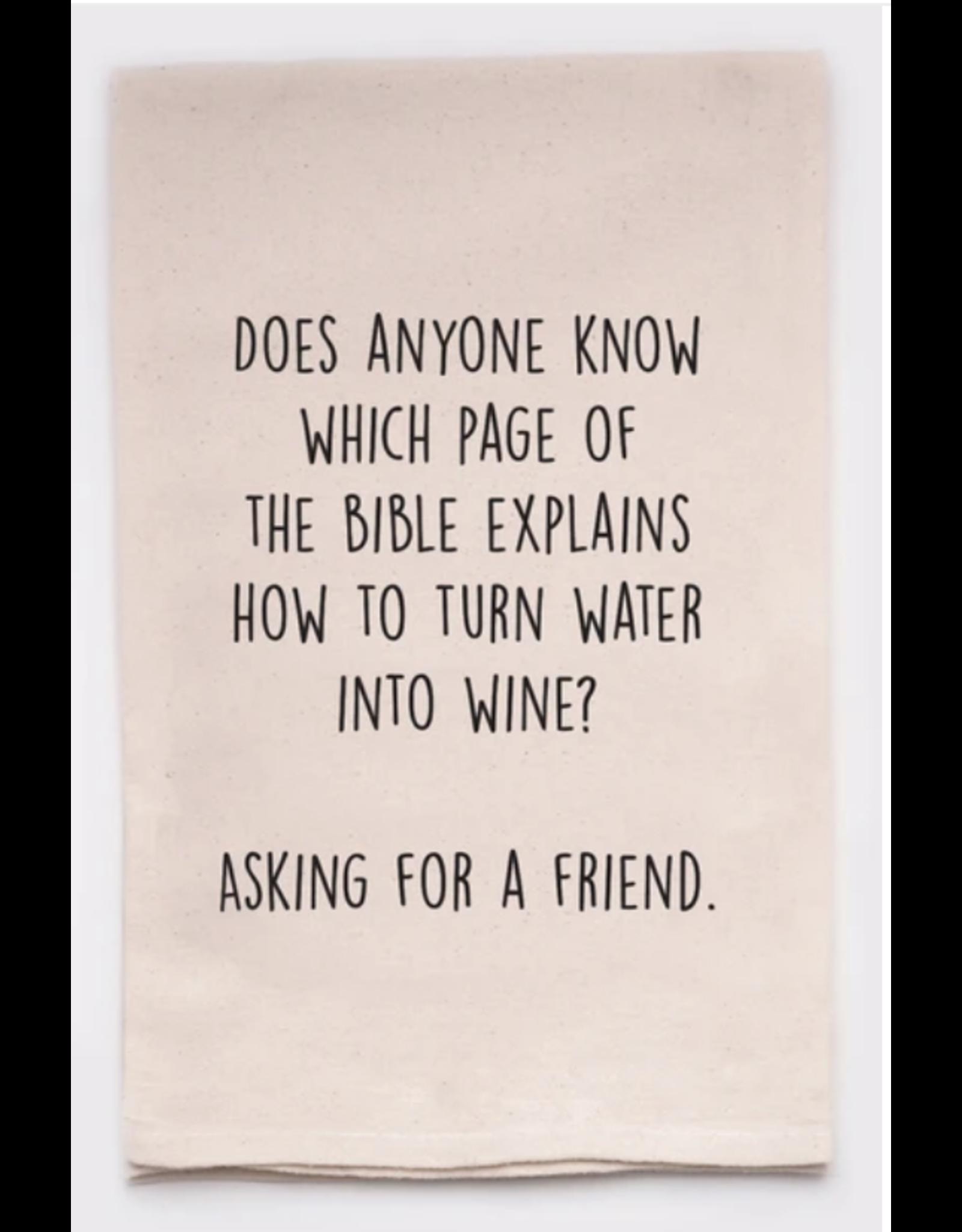 Flour Sack Towel, Water Into Wine
