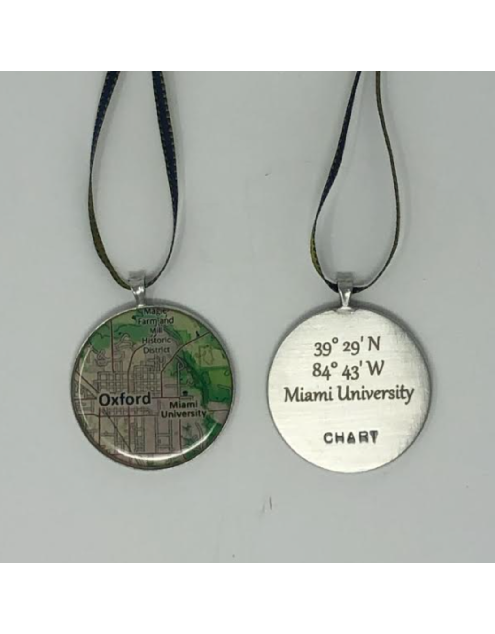 Chart Ornament, Oxford/Miami Map with Engraved Coordinates