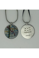Chart Ornament, Oxford Map with Engraved Coordinates