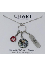 Chart Tripolo Necklace, Oxford Tag/Oxford Map/Heart Charm