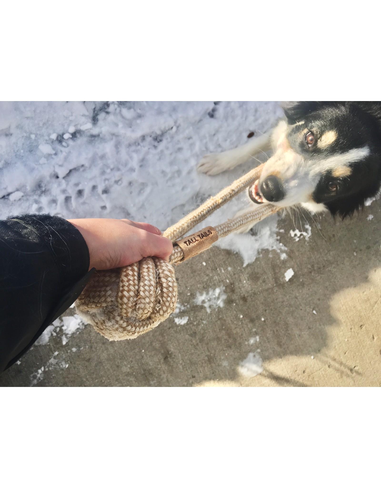 "13"" natural cotton/jute rope ball tug"