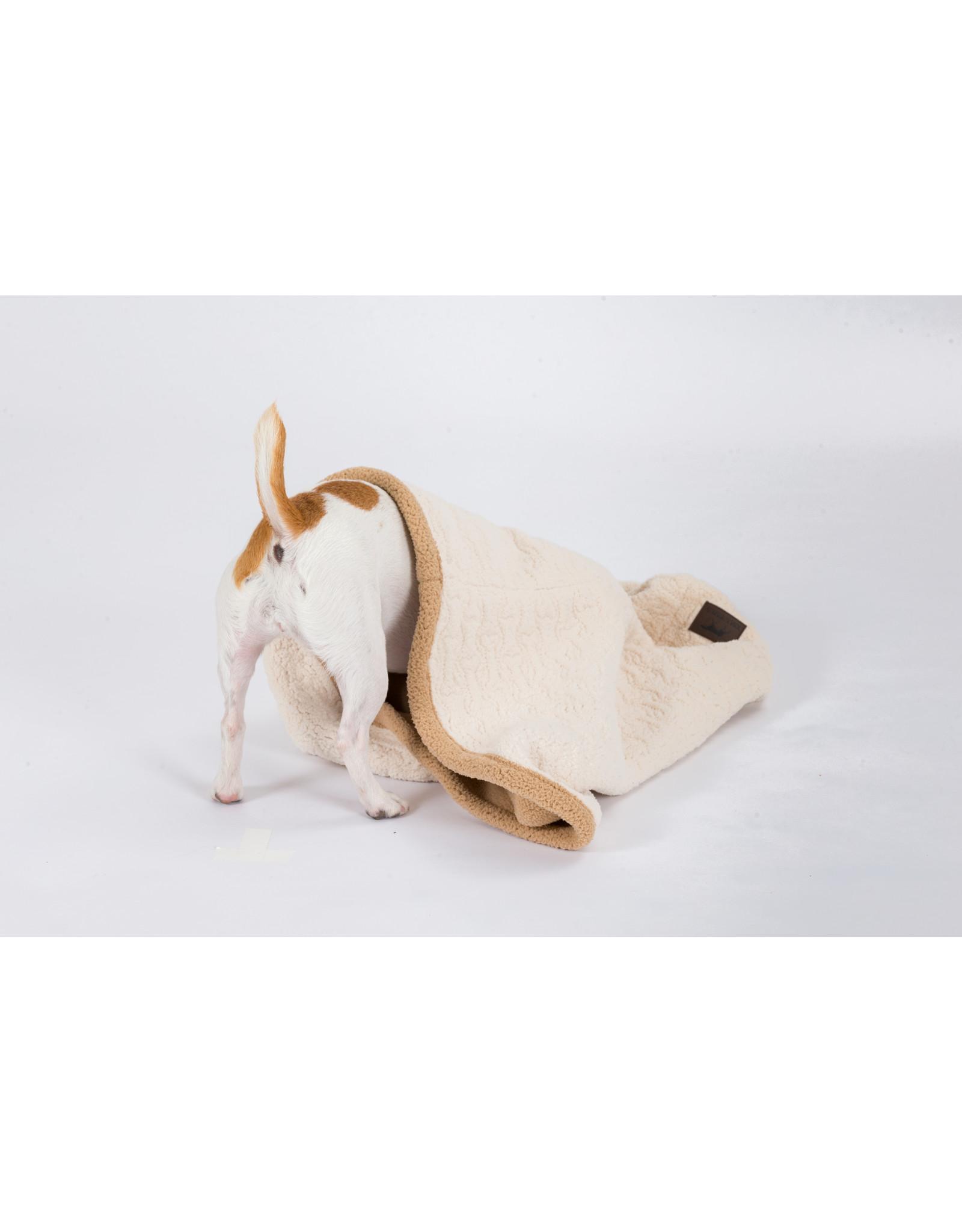 3-in-1 Burrowing Dog Blanket Bed, 28x28, embossed bone cream