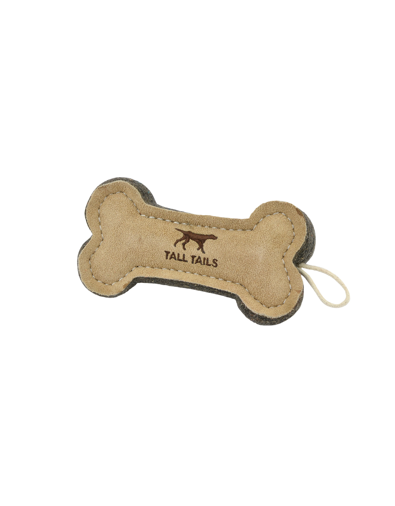 "6"" Leather & Wool Bone Dog Toy"