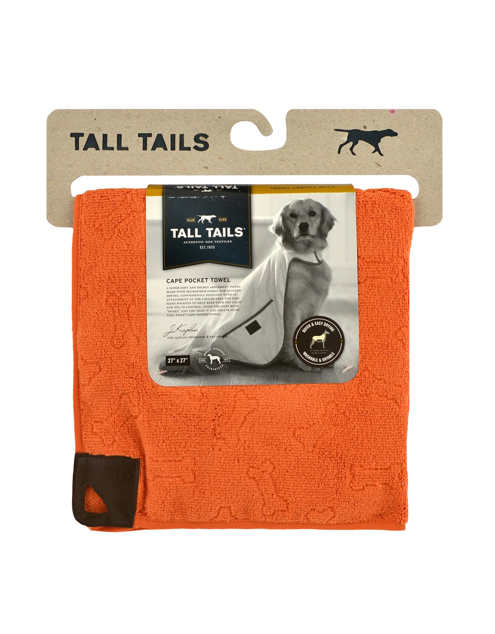 Pet Cape Pocket Towel, 27x27, orange bone