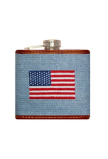 Smathers & Branson S&B Flask, American Flag on antique blue