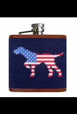 Smathers & Branson S&B Flask, Patriotic Dog on Point (dark navy)