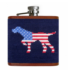 Smathers & Branson S&B Flask, Patriotic Dog on Point (dark navy)