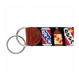 Smathers & Branson S&B Needlepoint Key Fob, Beer Cans