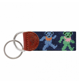 Smathers & Branson S&B Needlepoint Key Fob, Dancing Bears, dark navy