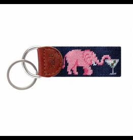 Smathers & Branson S&B Needlepoint Key Fob, Elephant Martini