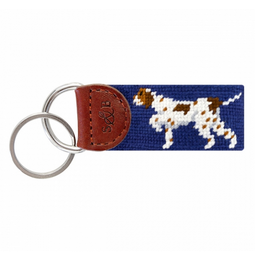 Smathers & Branson S&B Needlepoint Key Fob, Pointer, Classic Navy