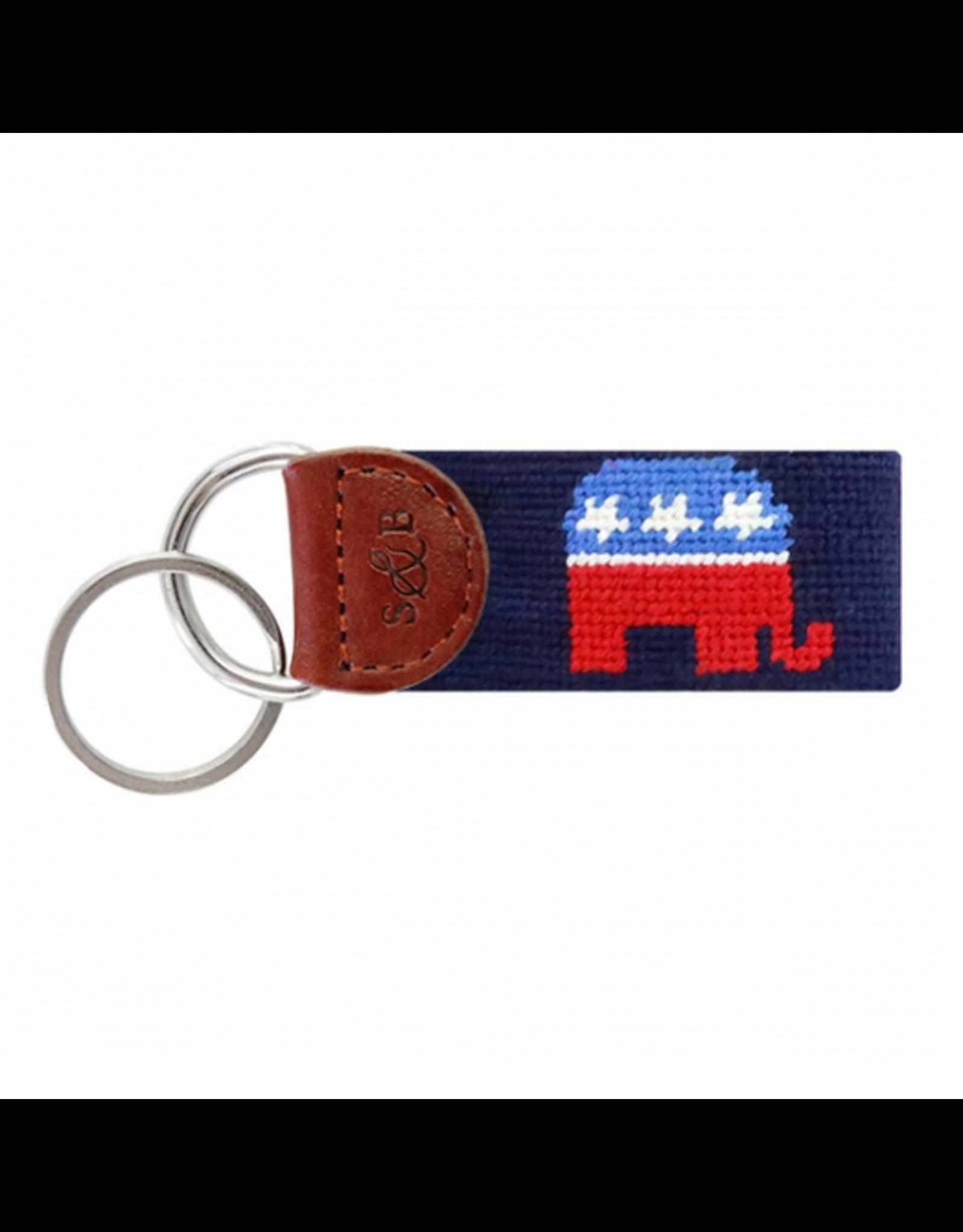 Smathers & Branson S&B Needlepoint Key Fob, Republican Elephant