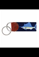 Smathers & Branson S&B Needlepoint Key Fob, Billfish on dark navy