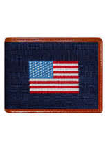 Smathers & Branson S&B Needlepoint Bi-fold Wallet, American Flag on Navy