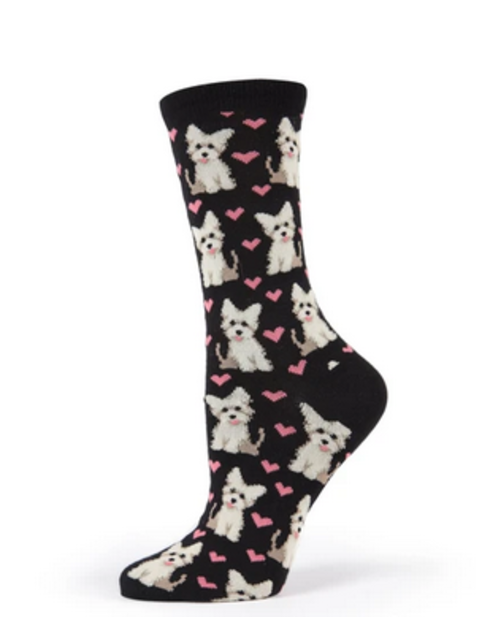 Crew Socks, Puppy Love, black