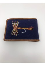 Smathers & Branson S&B Needlepoint Bi-fold Wallet, Trout and Fly, Navy