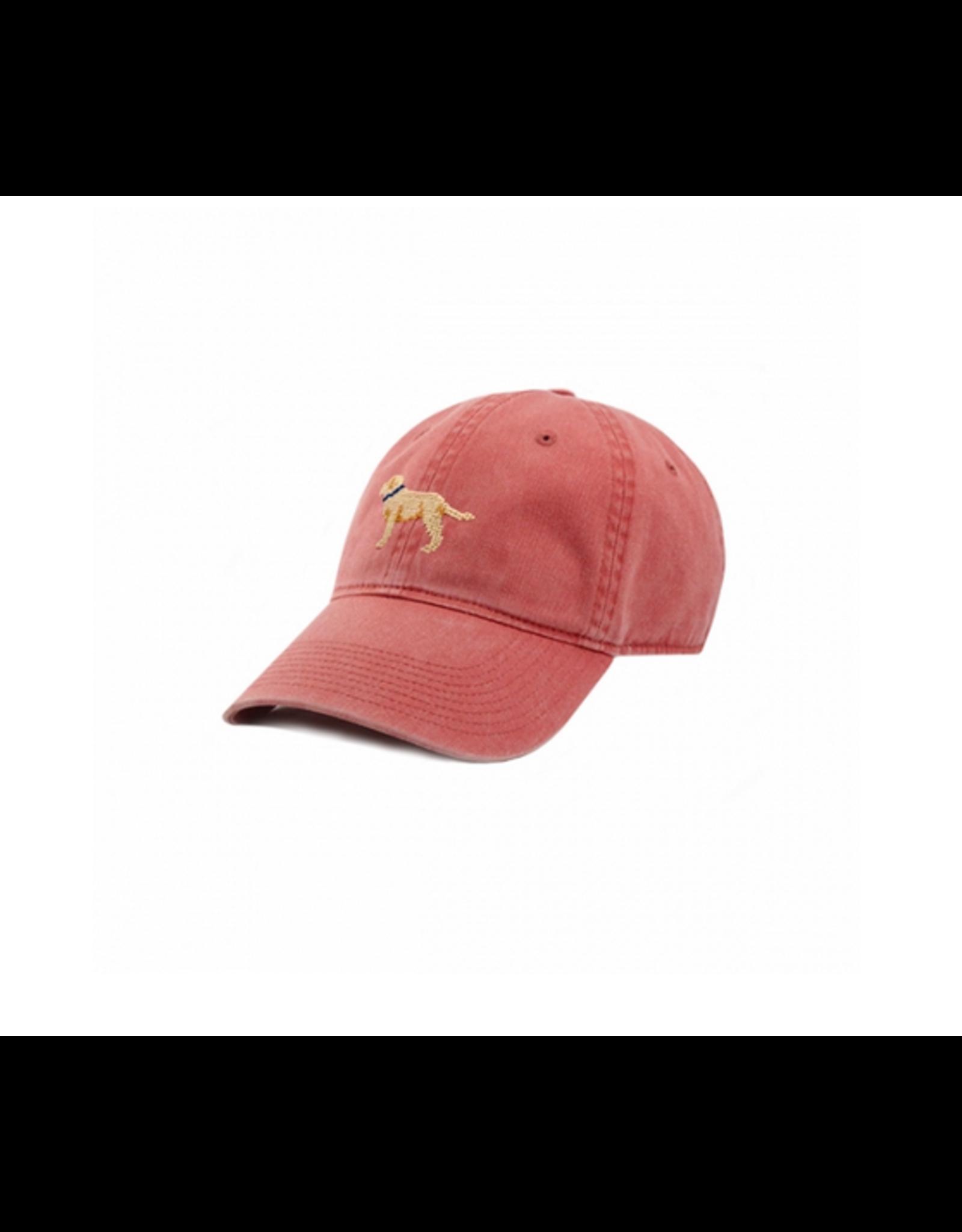 Smathers & Branson S&B Needlepoint Ball Hat, Yellow Lab on Nantucket Red