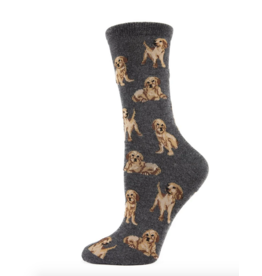 Crew Socks, Golden Retriever, charcoal gray