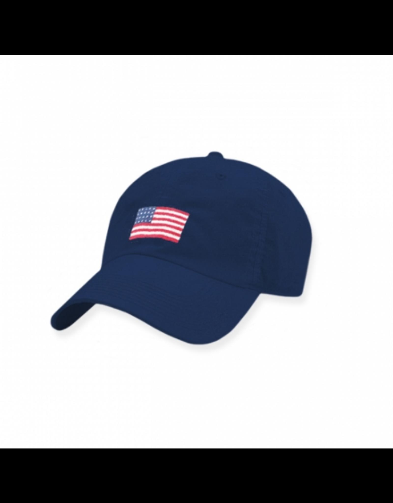 Smathers & Branson S&B Needlepoint Ball Hat, American Flag on Navy