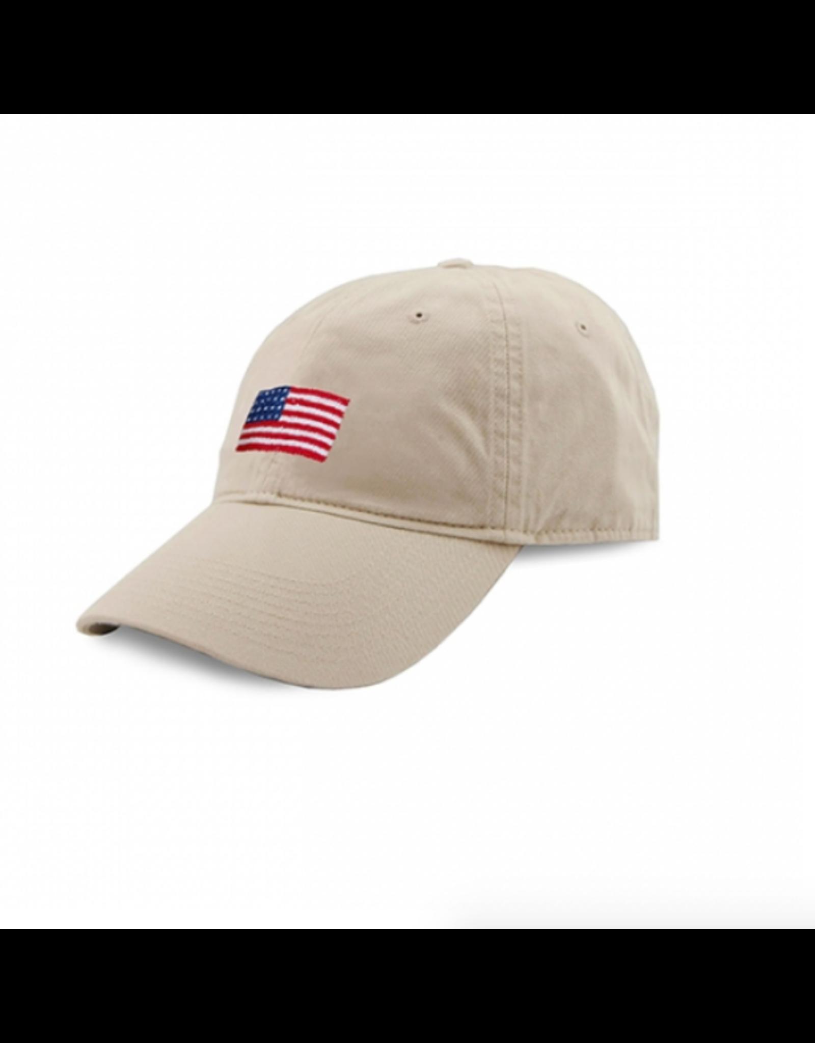 Smathers & Branson S&B Needlepoint Ball Hat, American Flag on Stone