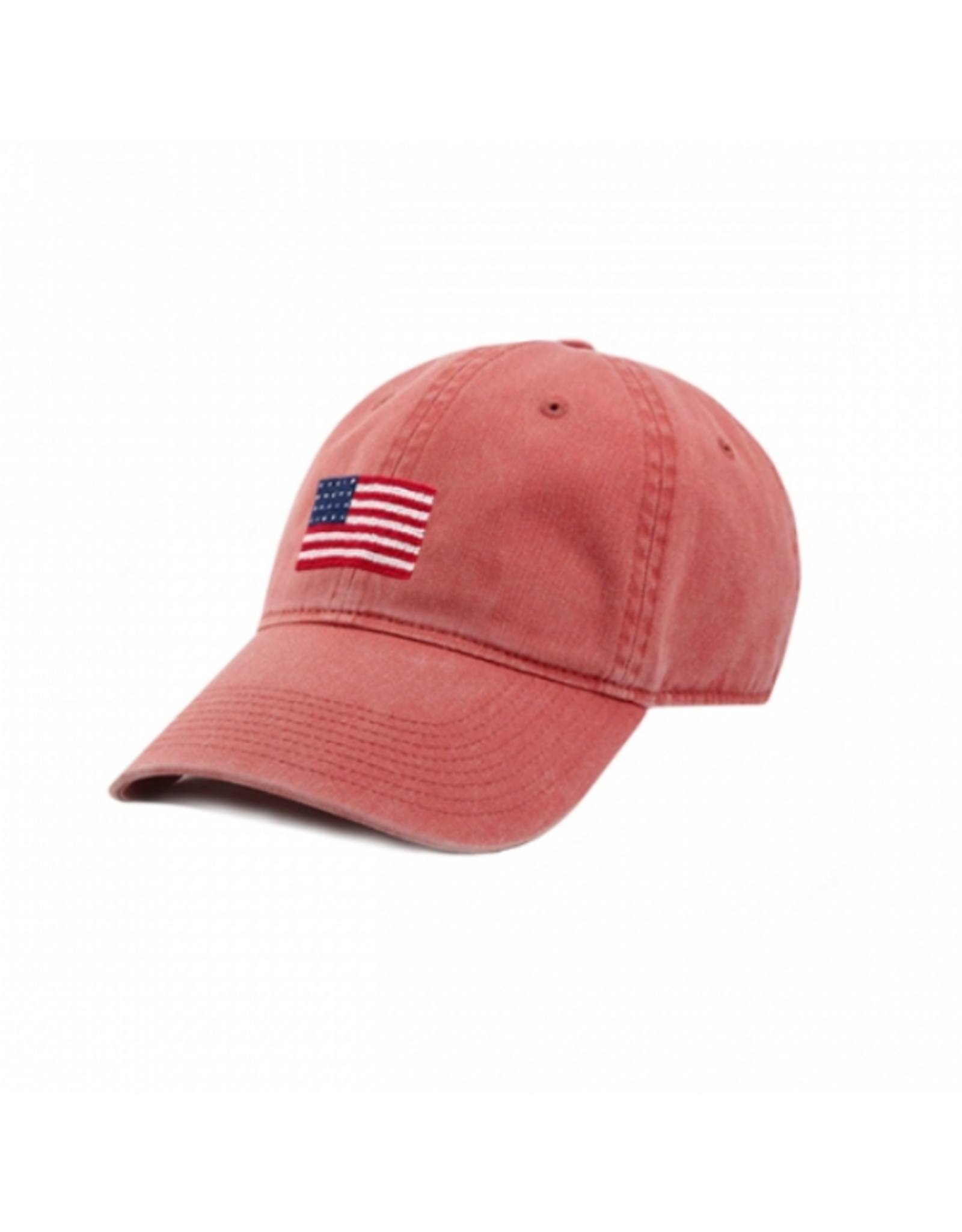 Smathers & Branson S&B Needlepoint Ball Hat, American Flag on Nantucket Red