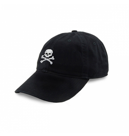 Smathers & Branson S&B Needlepoint Ball Hat, Jolly Roger on Black