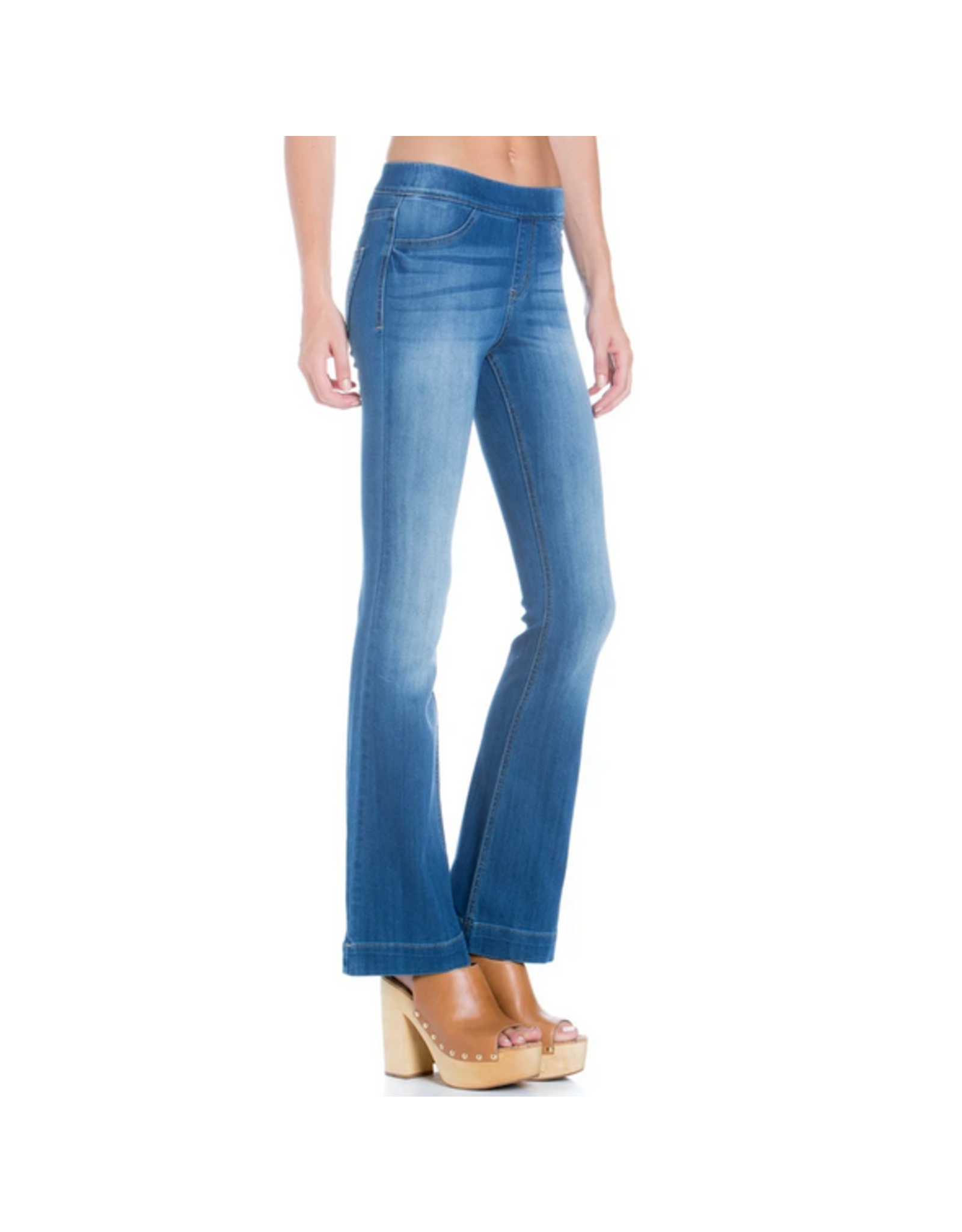 Mid Rise Flare Jegging, Medium Denim
