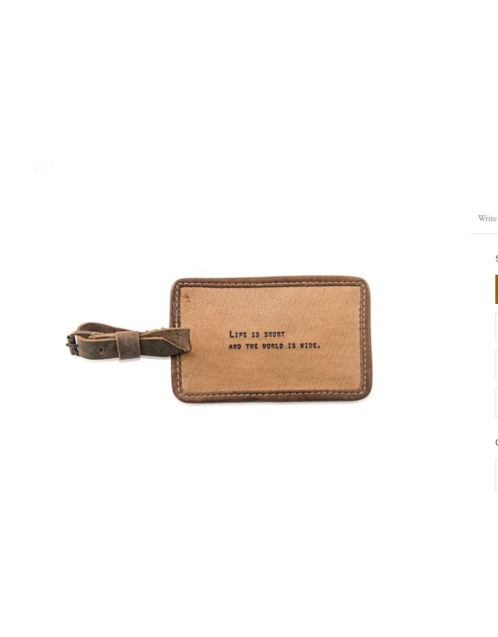 Leather Luggage tag, Life is Short
