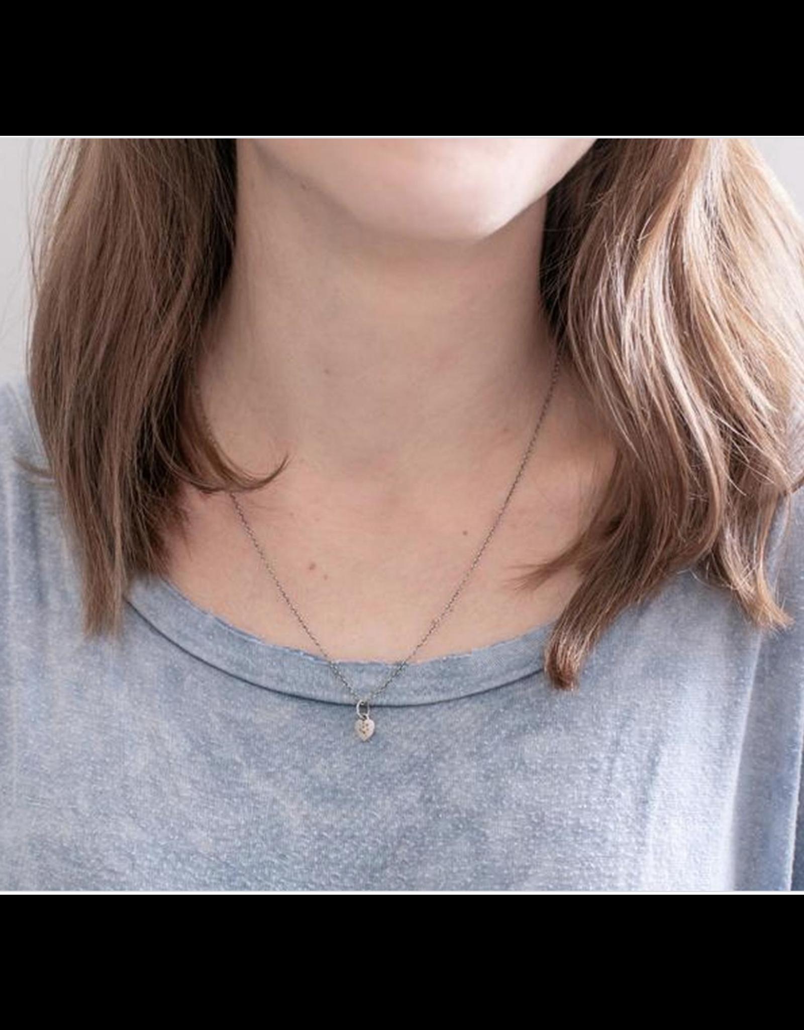 Heart Necklace w/White Topaz