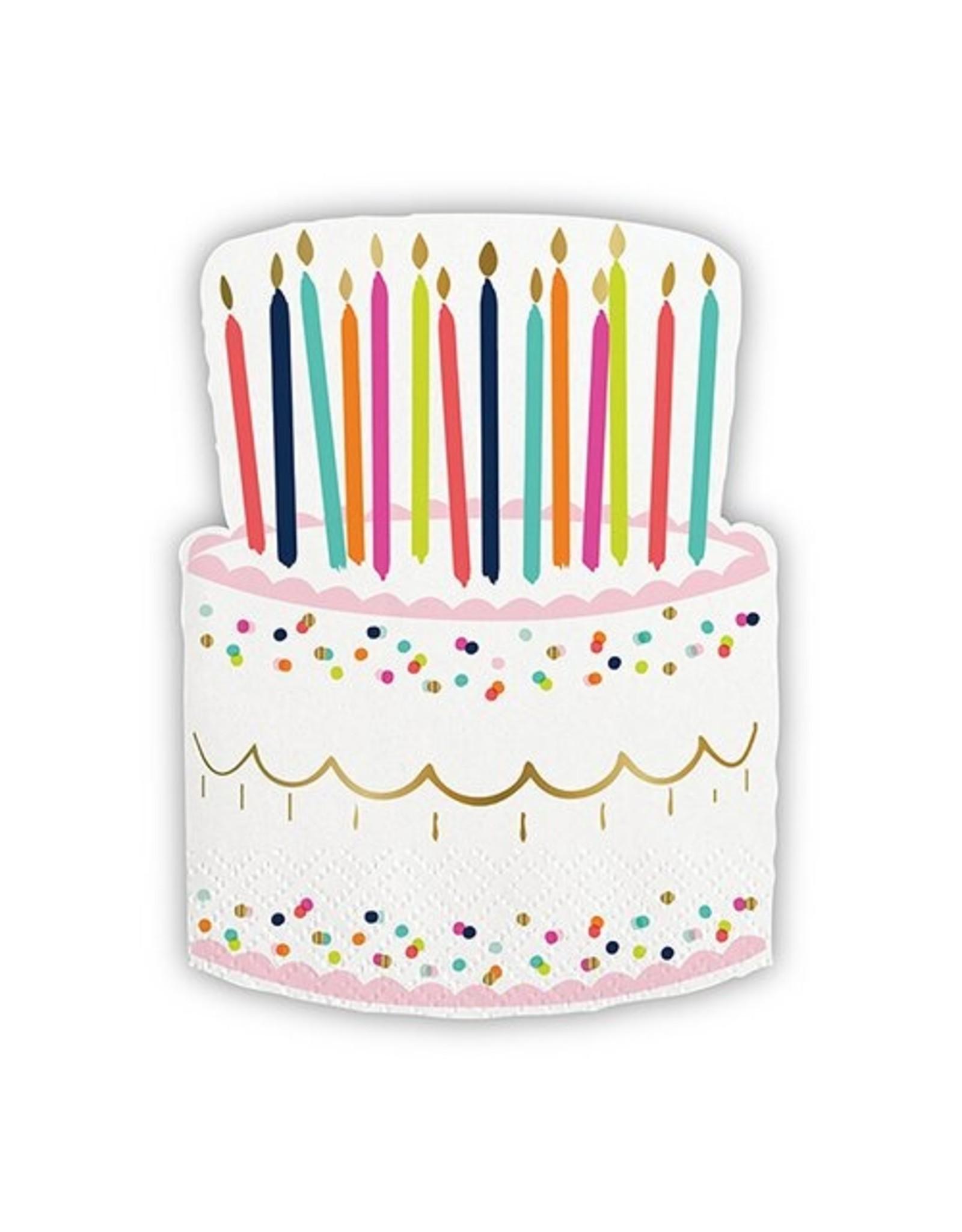 Beverage Napkins, Cake w/Candles Design, 20 ct.