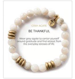 L&E Gemstone Bracelet, gray agate, 8 mm