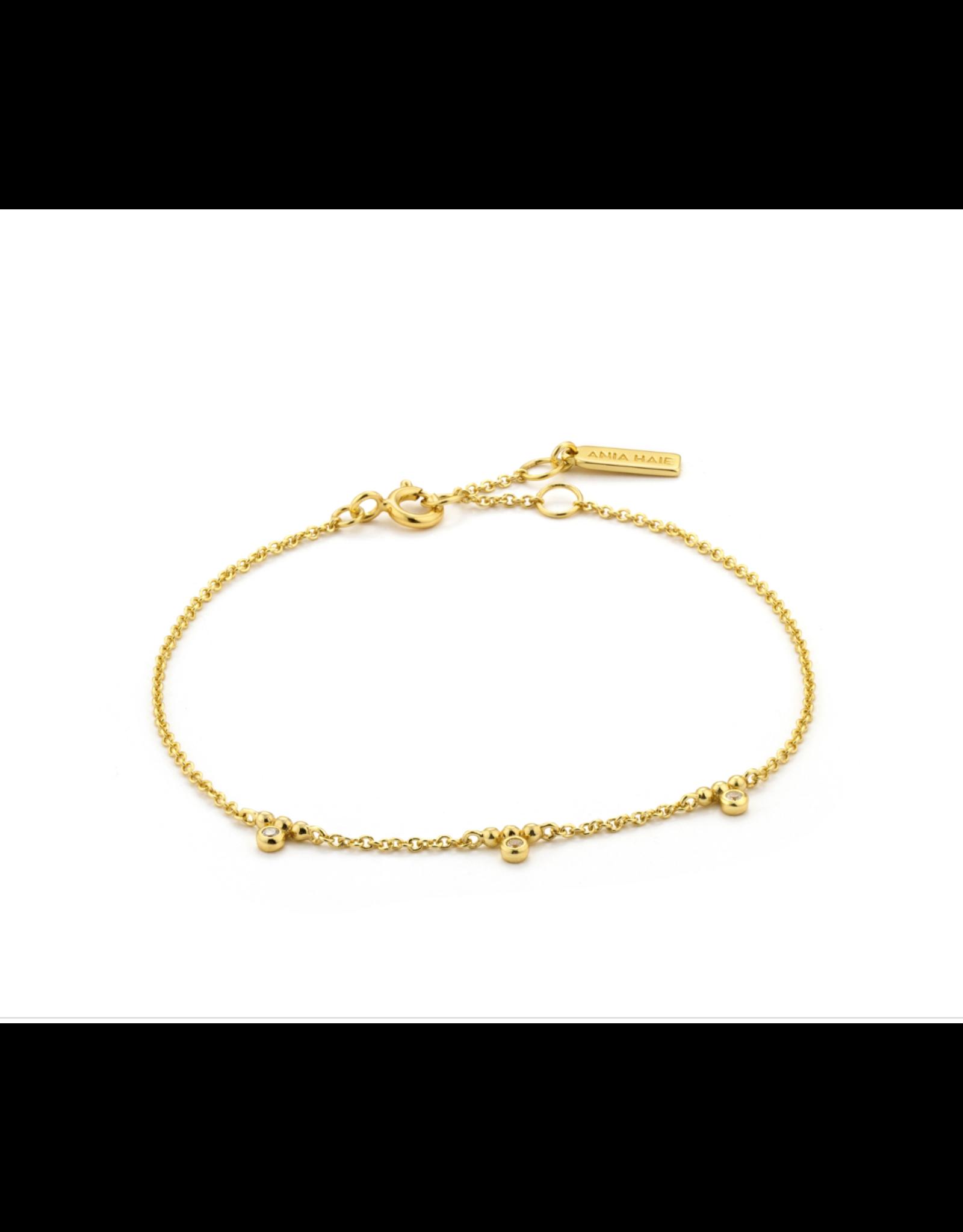 Ania Haie Shimmer Triple Stud Bracelet, gold