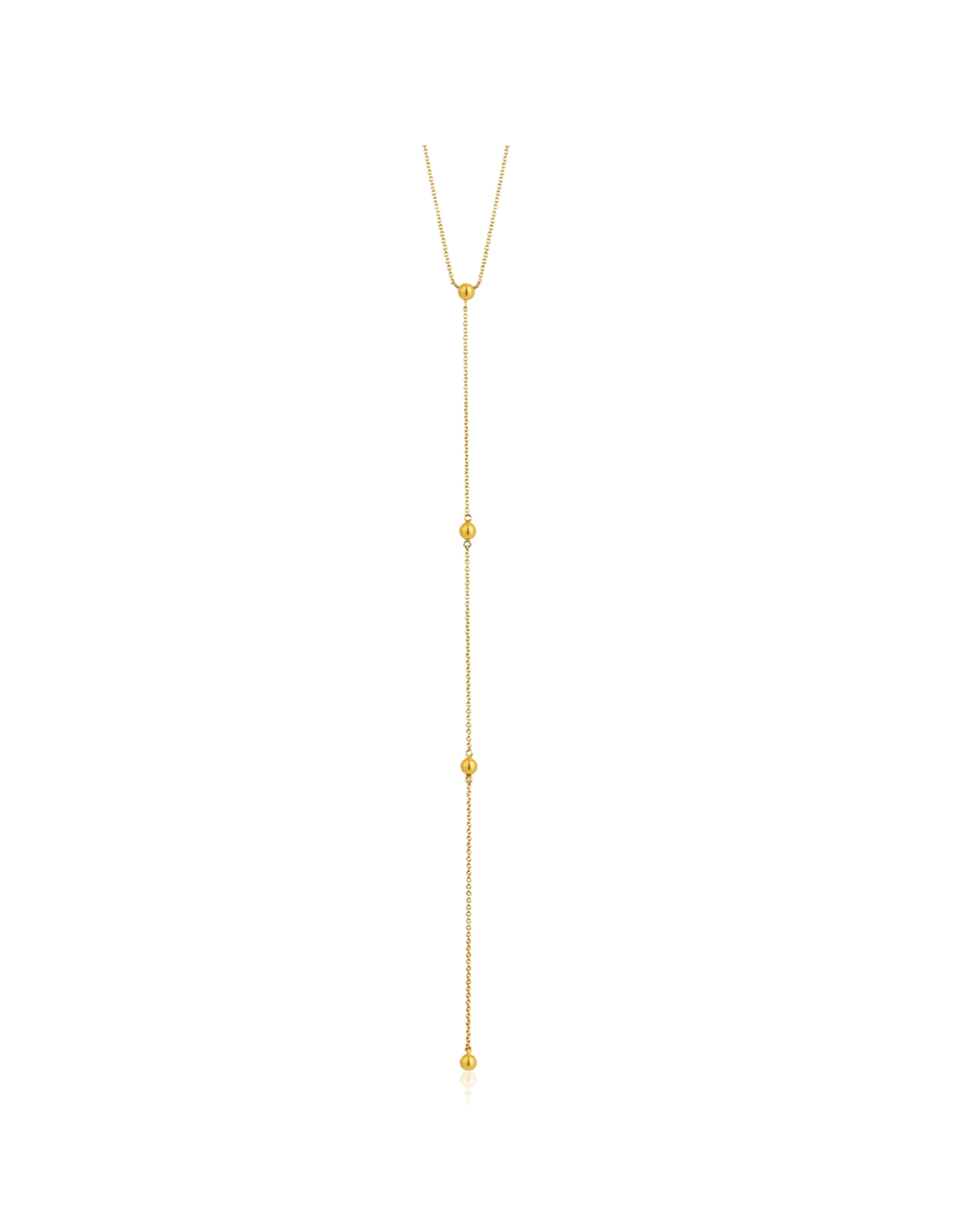 Modern Beaded Y Necklace, gold