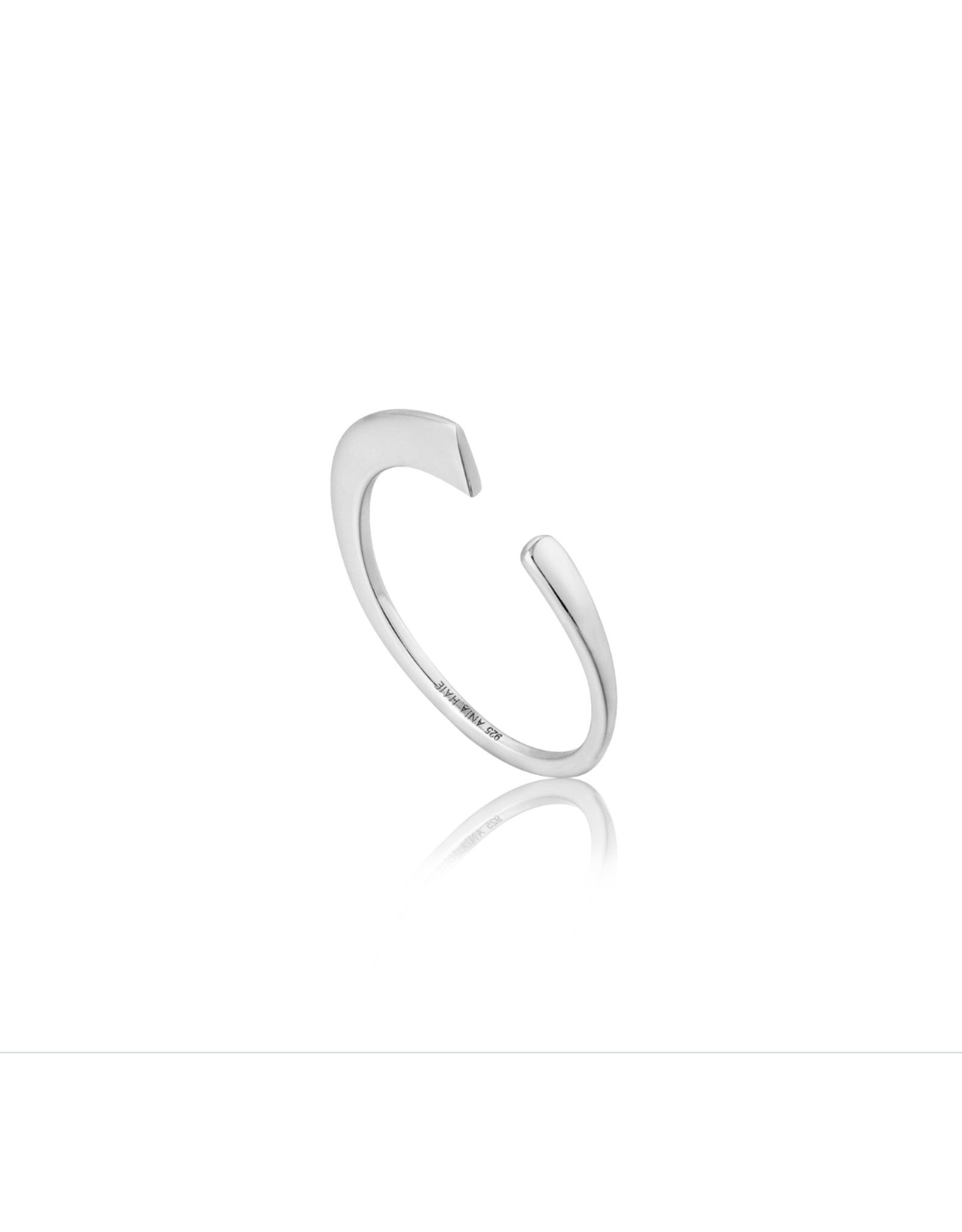 Geometry Curved Adjustable Ring, silver