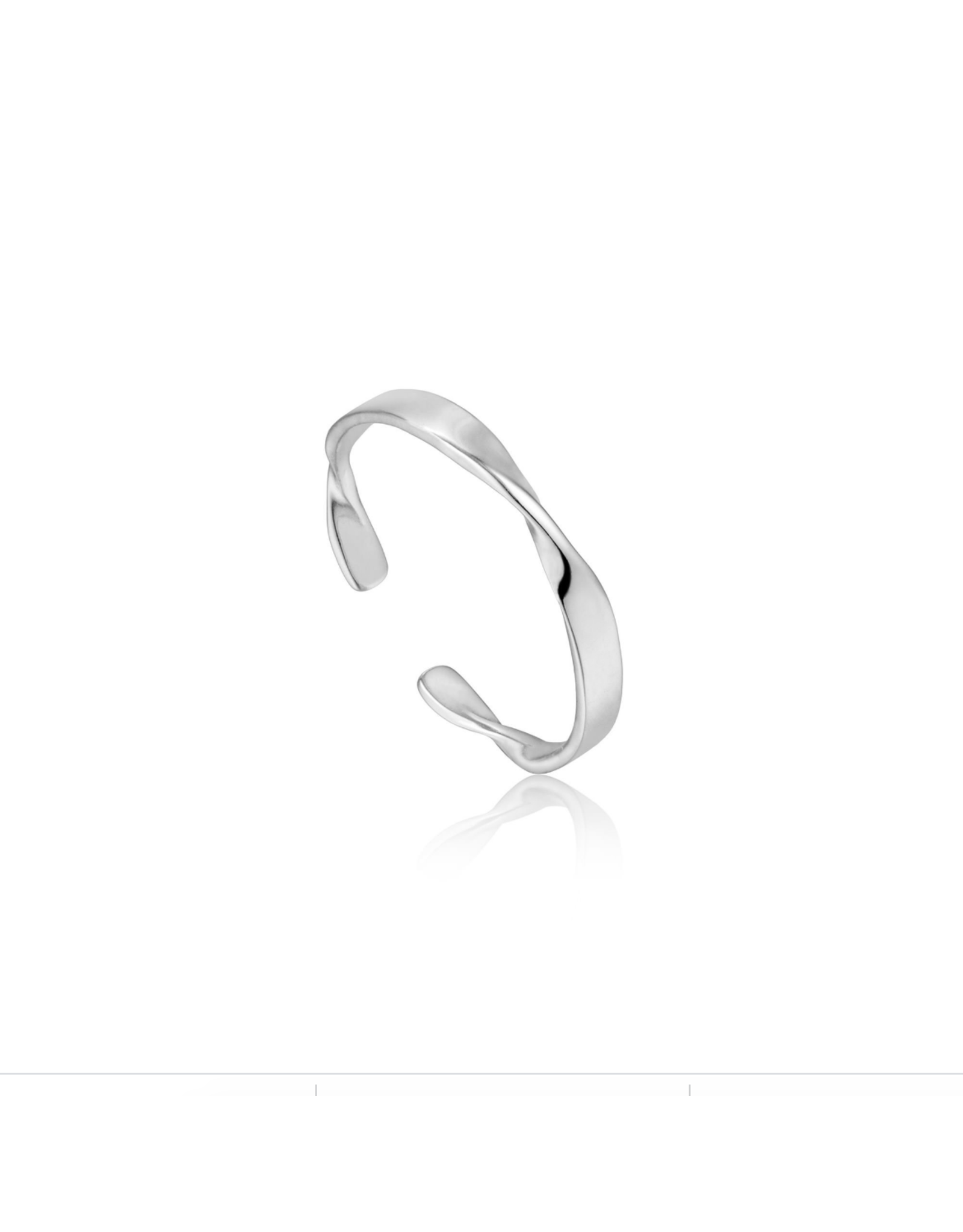 Ania Haie Helix Thin Adjustable Ring, silver