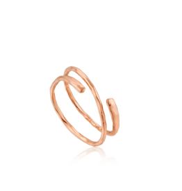 Ania Haie Ripple Adjustable Ring, rose gold