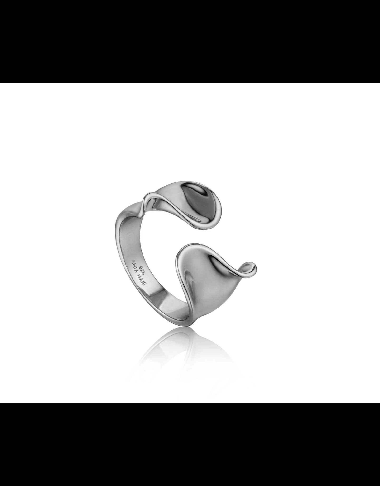 Ania Haie Twist Wide Adjustable Ring, silver