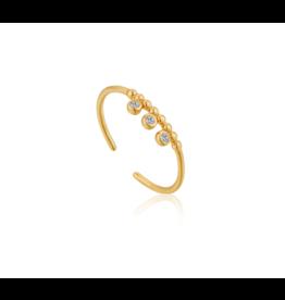 Ania Haie Shimmer Trip Stud Adj. Ring, gold